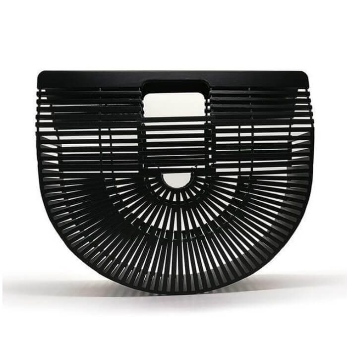 Bamboo Basket clutch bag μαύρη