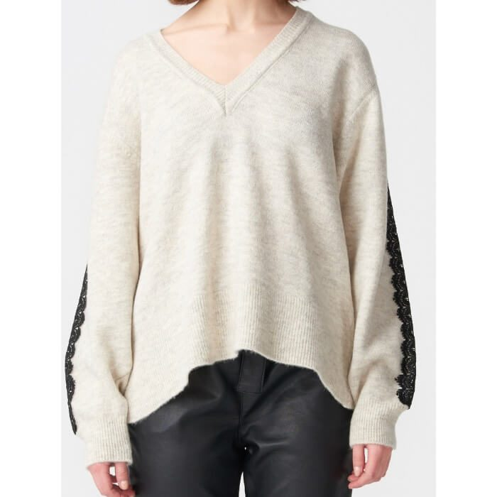 Beige V lace pullover