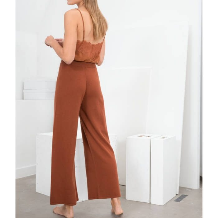 Camel knit lounge trousers