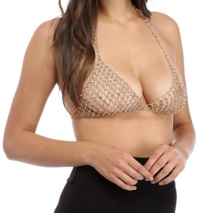 Chain Bra with crystals in gold