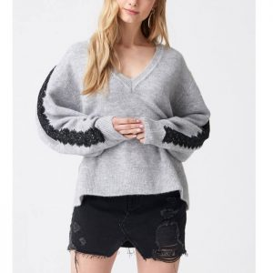 Grey V lace pullover