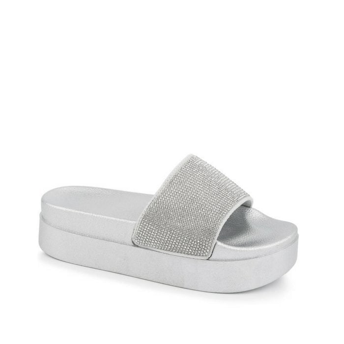 Sliders flatform strass ασημί