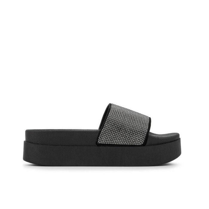 Sliders flatform strass μαύρο