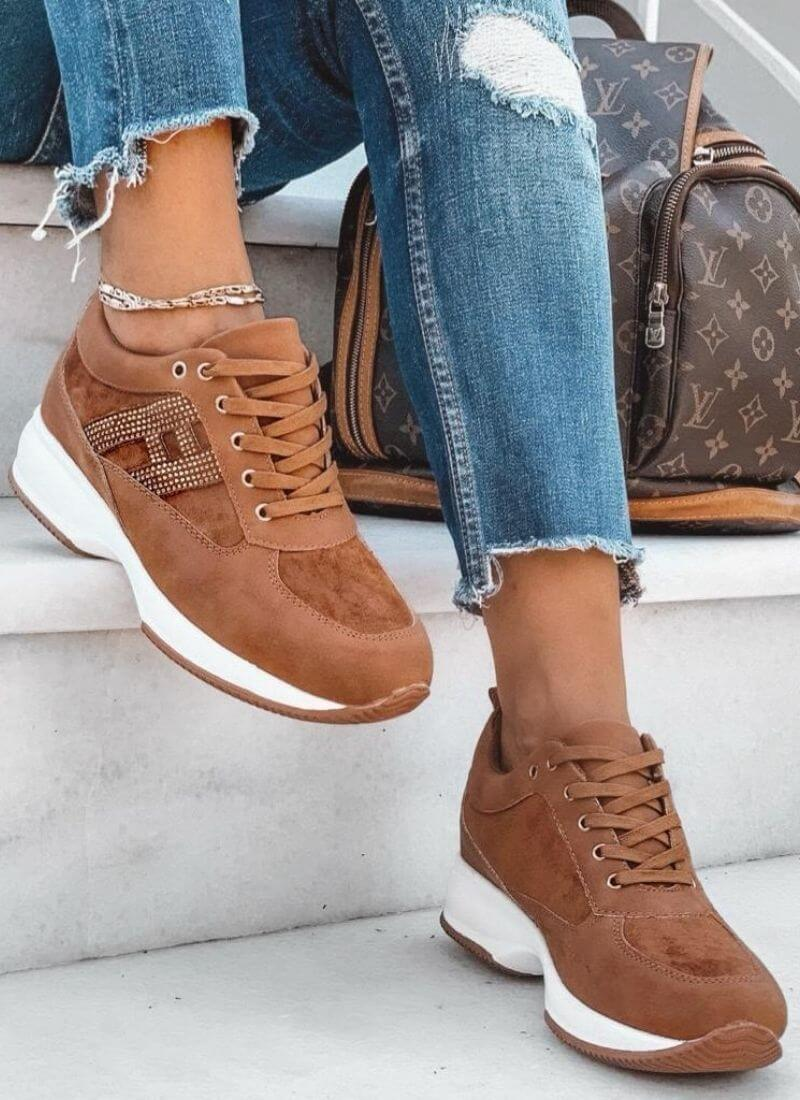 Sneakers Townie suede strass ταμπά